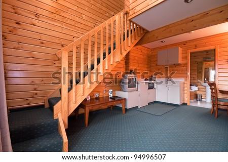 Lodge apartment interior. Fox Glacier Lodge, Fox Glacier, West Coast, South Island, New Zealand. - stock photo