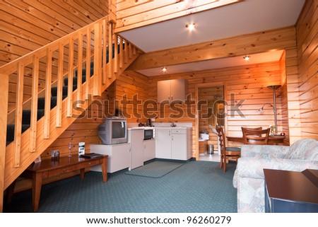 Lodge apartment wooden interior. Fox Glacier Lodge, Fox Glacier, West Coast, South Island, New Zealand. - stock photo