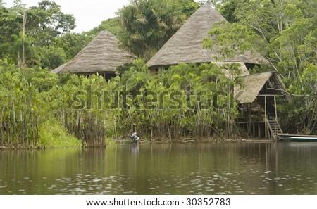 Lodge in the Ecuadorian Amazon - stock photo