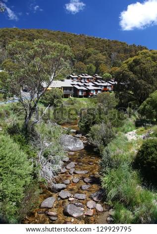 Lodges at Thredbo in Kosciuszko National Park, Australia - stock photo