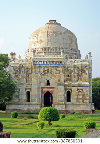 Lodi Gardens. Islamic Tomb (Seesh Gumbad) set in landscaped gardens. 15th Century AD. New Delhi, India