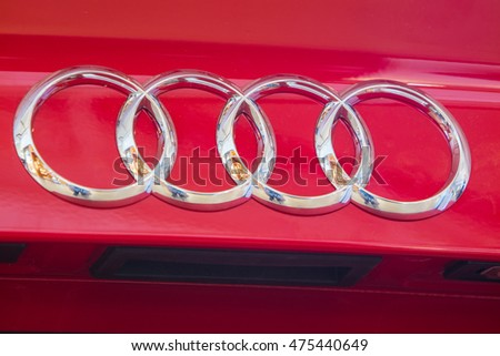 Lodz, Poland, August 27, 2016: Audi A3, red metallic, four rings