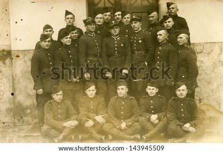 LODZ, POLAND, CIRCA THIRTIES - vintage photo of big group of soldiers, Lodz, Poland, circa thirties