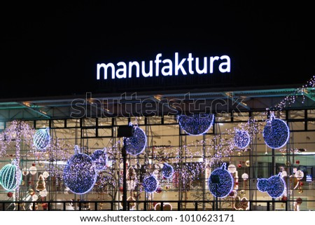 Lodz, Poland, January 5, 2018  The Manufaktura is an arts centre, shopping mall, and leisure complex in Lodz, Poland. A major tourist asset of the city. night. Christmas decorations.