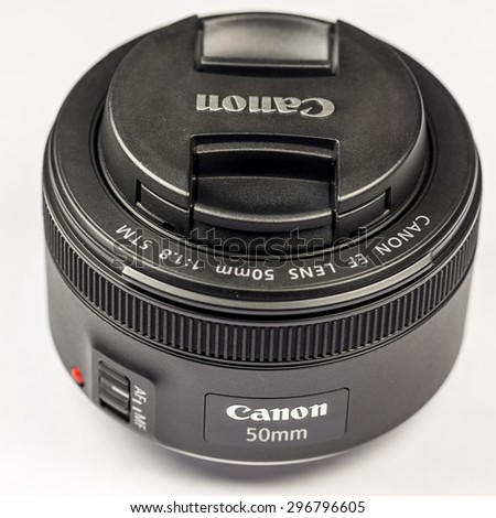LODZ, POLAND - July 15, 2015: New Canon lens EF 50mm 1.8 STM - stock photo