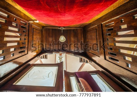 Lodz, Poland - March 30, 2015: View of the confessional inside the church