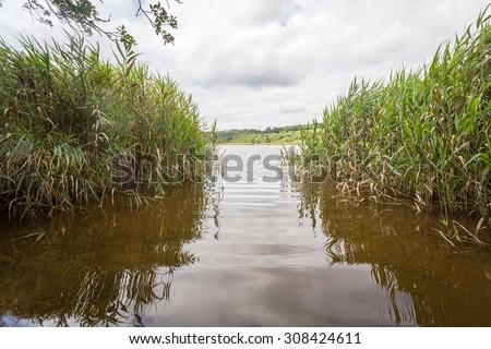 loe bar lake in cornwall england uk near porthleven. Kernow. - stock photo