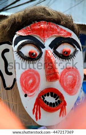 Loei province, Thailand- June 28,2014: Unidentified man wear ghost costume at  Phi Ta Khon or Ghost Festival at Dan Sai district, Loei province, Thailand.