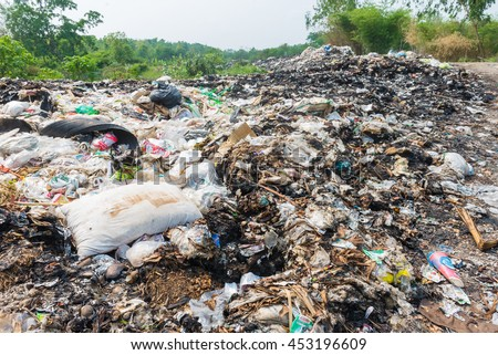 LOEI.THAILAND.APRIL.8.2015: Municipal landfill for household waste.Pile of domestic garbage in landfill in Thailand.