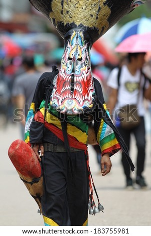 LOEI, THAILAND - JULY 11 : unidentified participants in phitakhon festival 2013 at loei province on july 11, 2013 in Thailand.