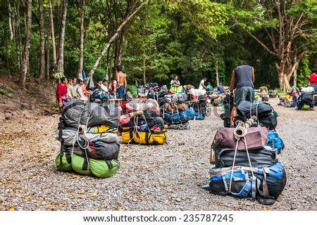 LOEI, THAILAND - Nov 14 : Unidentified porters prepared to carry climbers' belongings on 28 Nov 2014 at Phu Kradueng National Park, Loei, Thailand - stock photo