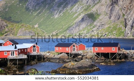 Lofoten archipelago in Norway. Nusfjord fishing village in Flakstadoya island.
