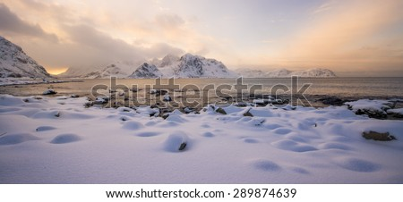 Lofoten beach at sunset, Norway in winter - stock photo