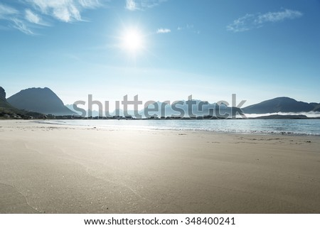 Lofoten beach in sunny summer day, Norway - stock photo