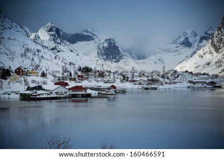 lofoten island during winter time - stock photo