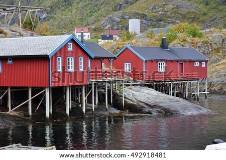 Lofoten islands, A is a small fishing village in the municipality of Moskenes in Nordland county, Norway.