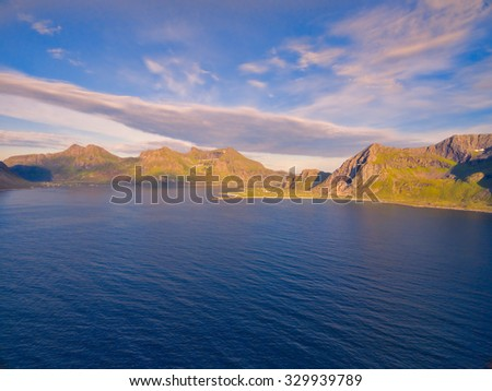 Lofoten islands coastline in Norway, aerial view