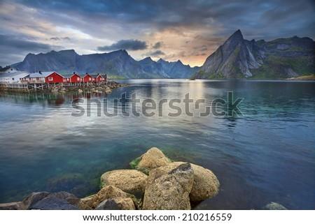 Lofoten Islands. Image of Lofoten Islands, Norway during beautiful sunset. - stock photo