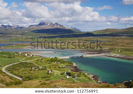 Lofoten islands in Norway during short summer north of arctic circle near town of Leknes - stock photo