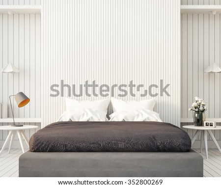 Loft and modern bedroom / 3D render image - stock photo
