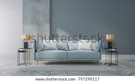 Loft Vintage Interior Living Room Blue Stock Illustration 797290117 ...