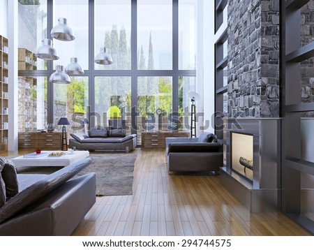 Loft apartment interior design with panoramic window. Living room with grey hanging lamp upper white low table. 3D render - stock photo