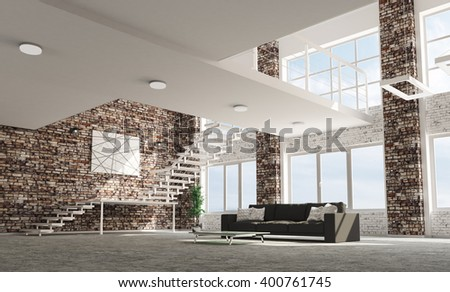 Loft apartment living room with sofa interior 3d rendering - stock photo