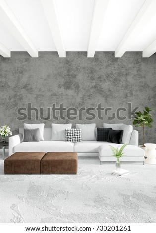 Loft Bedroom In Modern Style Interior Design With Eclectic Wall And Stylish  Sofa. 3D Rendering