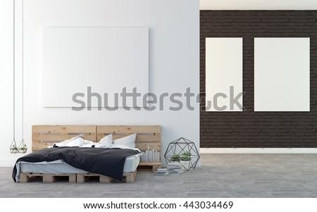 Loft bedroom with art gallery 3D rendering - stock photo