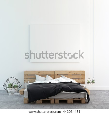 Loft bedroom with mock up photo canvas 3D rendering