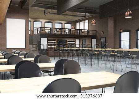 Loft Cafe Interior With Blackboard Posters And Bar Concept Of Pub Culture 3d