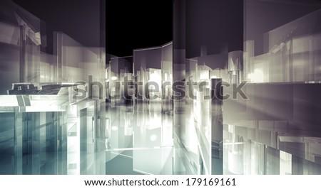 Loft, 3d business room, Hall  building with light and reflects. modern design concept - stock photo