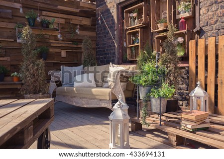 Loft garden design of veranda