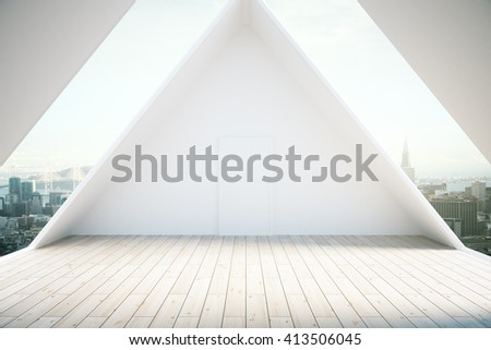 Loft interior design with light wooden floor and windows revealing city view. 3D Rendering - stock photo