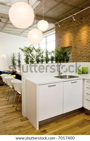 loft-kitchen in open space - stock photo
