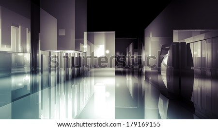 Loft light, 3d business room, Hall  building with light and reflects. modern design concept - stock photo