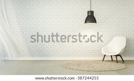 Loft Living and brick wall / 3D Render Image - stock photo