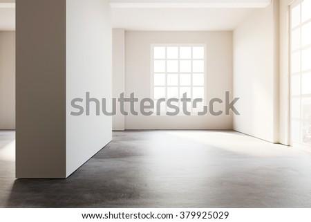 Loft open space white office. 3d rendering - stock photo