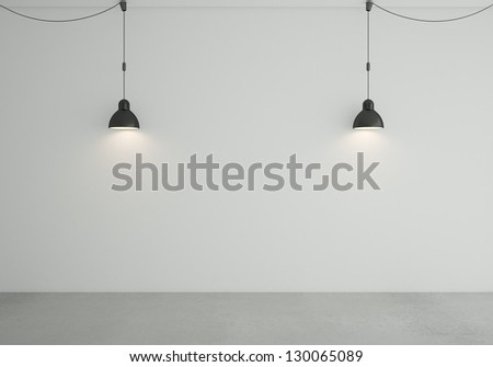 loft room with two ceiling lamps - stock photo