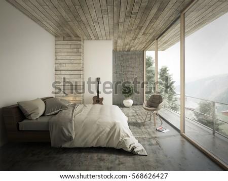 Nice Loft Style Bedroom Interior Design. 3D Rendering.