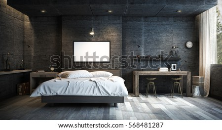Exceptional Loft Style Bedroom Interior Design With Mock Up Picture Frame. 3D Rendering