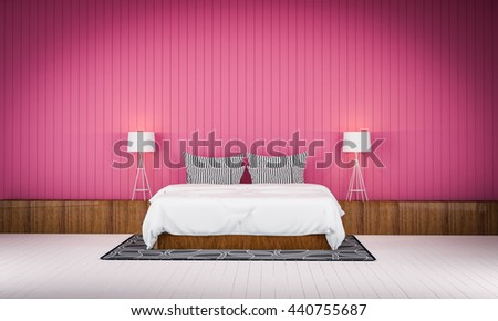 Loft Style Bedroom Pink Color Wall 3d Rendering