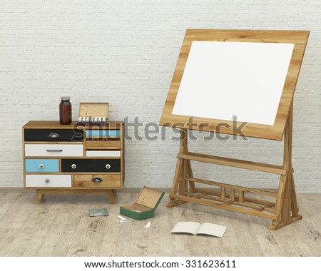 loft style modern interior background with board, paint, brush, brick wall , 3D render - stock photo