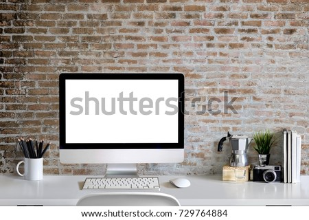 Loft Workspace Concept. Mock Up White Screen Modern Desktop Computer And  Books, Minimal Stuff
