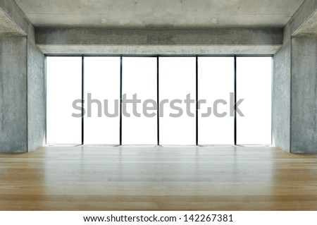 Lofty apartment with wooden floor and large windows - stock photo