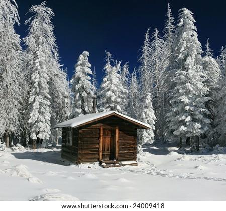 Log Cabin - Arizona Winter - stock photo