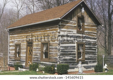 Log cabin, Cataract Falls, IN - stock photo