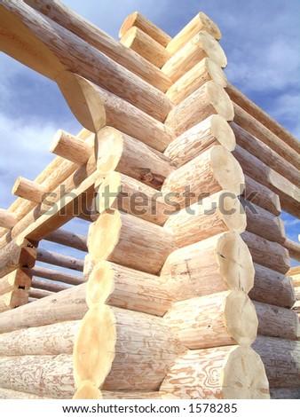 Log Cabin Corner - stock photo