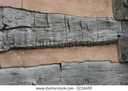 Log Cabin detail, good for background or texture - stock photo
