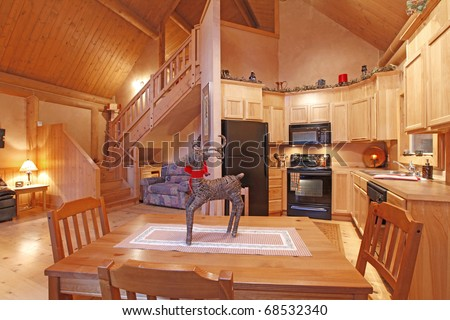 Log cabin dining room and living room